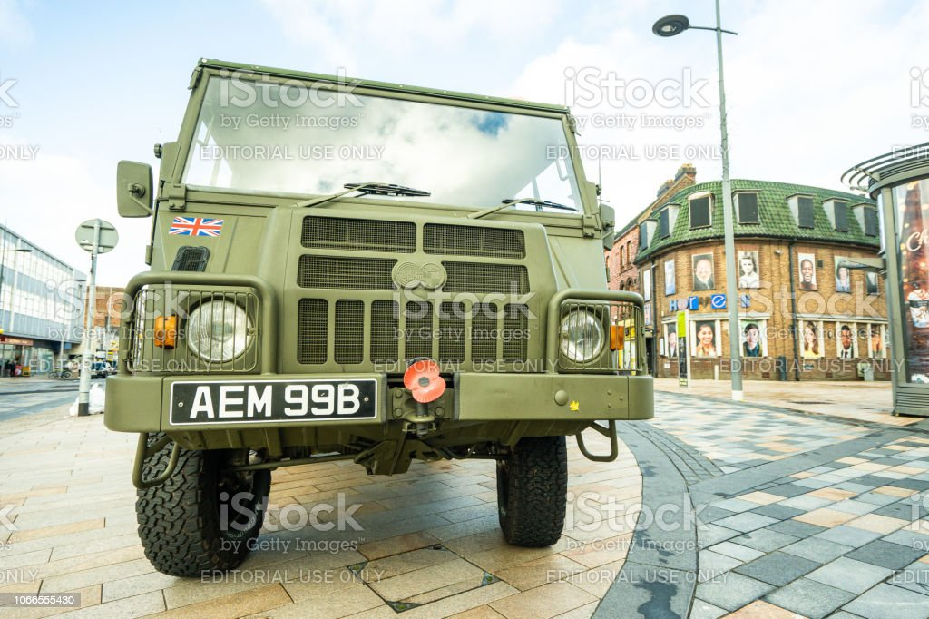 An Army vehicle from the Royal Engineers attends the 100 year Remembrance parade, service in Albion Square, Hanley stock photo