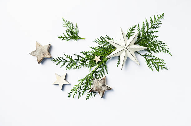 Eine Anordnung von immergrünen Zweigen und Christbaumschmuck. Flatlay. Kopieren Sie Raum. Weißem Hintergrund – Foto
