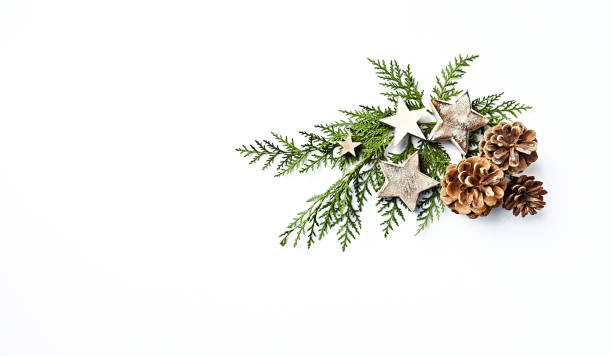 An arrangement of evergreen twigs, cones and Christmas decorations. Flatlay. Copy space. White background An arrangement of evergreen twigs, cones and Christmas decorations. Flatlay. Copy space. White background christmas decoration stock pictures, royalty-free photos & images