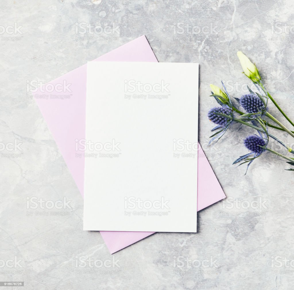 An arrangement of flowers and blank paper cards on gray background stock photo