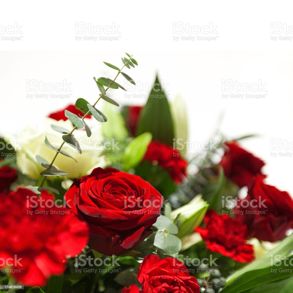 An arrangement of flowers and foliage stock photo