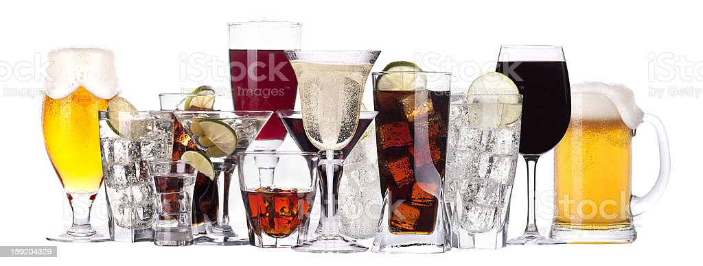 An array of different glasses of alcohol stock photo