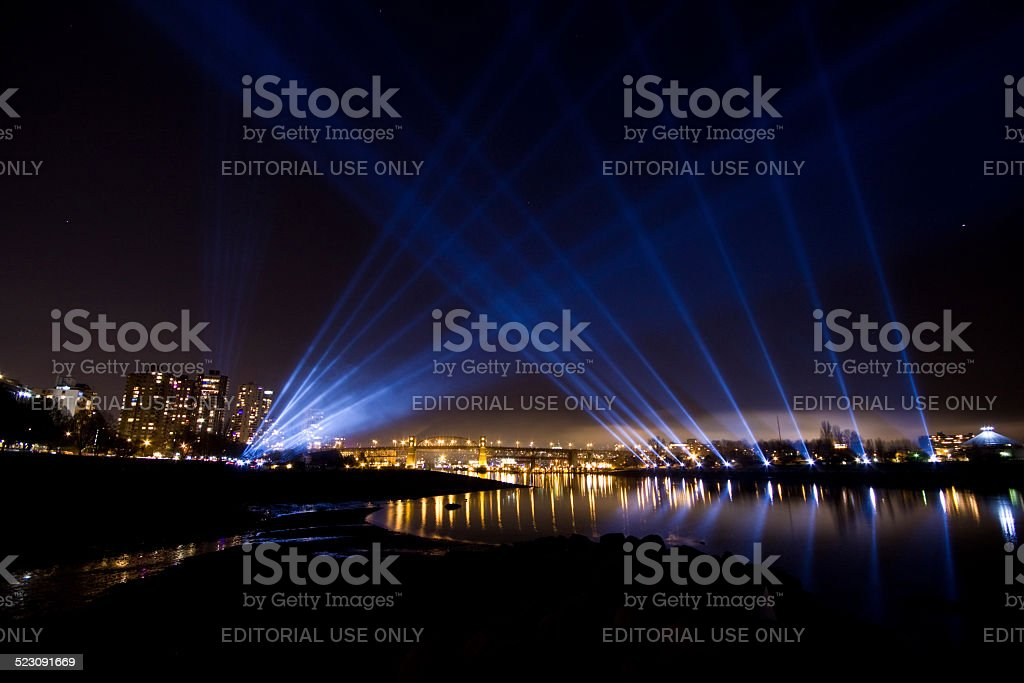 An array of light displays downtown Vancouver during winter games stock photo