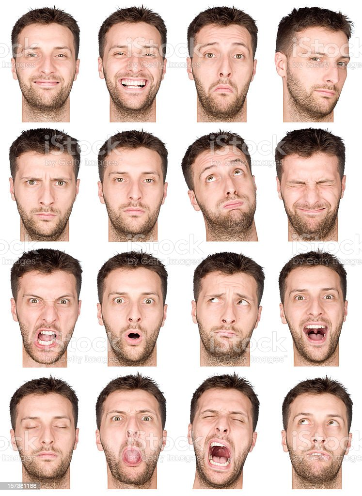 An array of male facial expressions stock photo