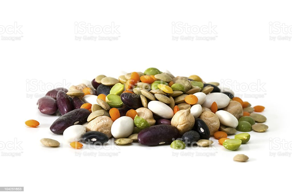 An array of multicolored mixed dried beans in a pile royalty-free stock photo