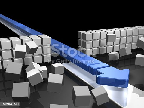 istock An arrow approaching by breaking through an obstacle indicates success. 696931614