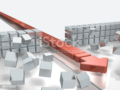istock An arrow approaching by breaking through an obstacle indicates success. 864026502