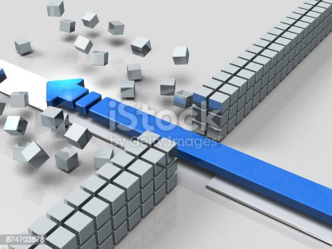istock An arrow breaking through an obstacle indicates success. 874703878