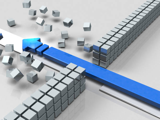 An arrow breaking through an obstacle indicates success. An arrow breaking through an obstacle indicates success. 3D illustration emergence stock pictures, royalty-free photos & images