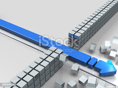 istock An arrow breaking through an obstacle indicates success. 898885280
