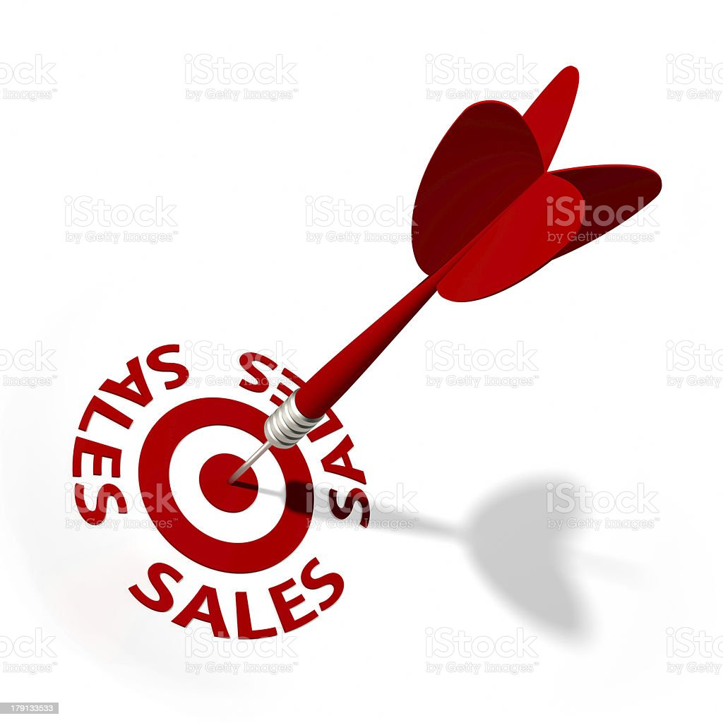 An arrow reaching the center of the sales target royalty-free stock photo