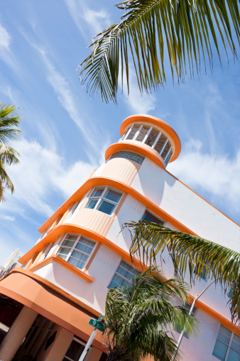 Art deco building in the South Beach Miami historical Art Deco district