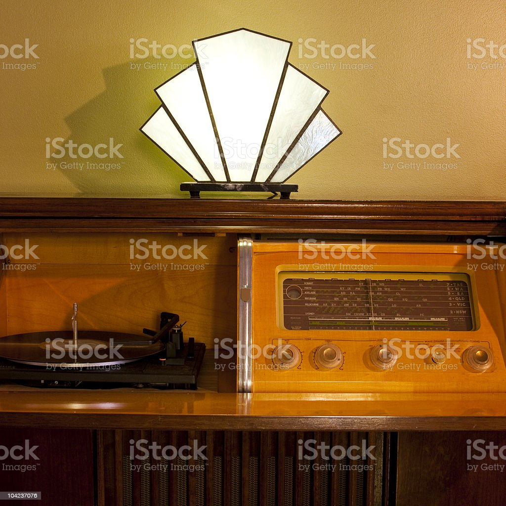 An Art Deco lounge room with a record player stock photo
