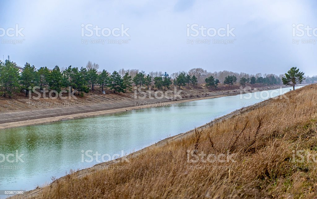 An artificial waterway in Novosibirsk stock photo