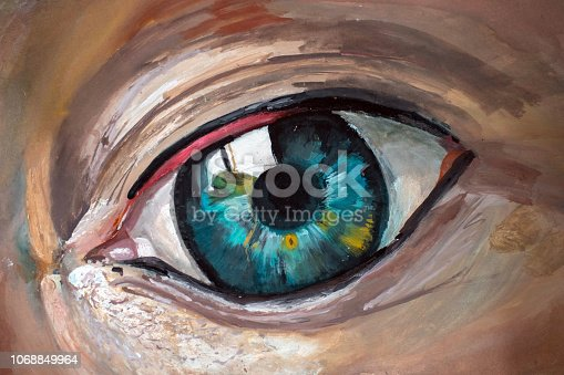 An artist's acrylic painting of a human eye. The artist is a new young artist called Ethan Hewitt and this series of images shows the progress through the painting process.