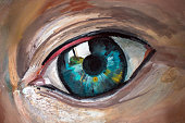 An artist's acrylic painting of a human eye