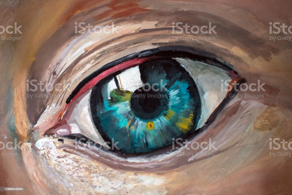 An artist's acrylic painting of a human eye stock photo