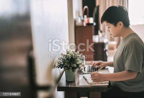 670150938 istock photo an asian chinese female mid adult working at home using her laptop and writing notes 1221345637
