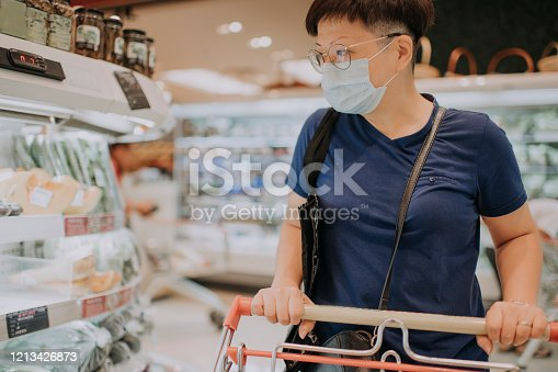 an asian chinese female wearing a mask going out shopping in supermarket