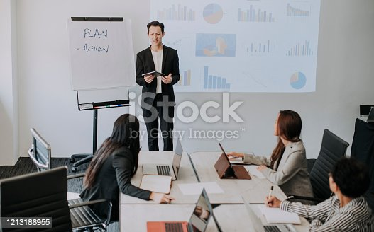 an asian chinese male executive presenting his business proposal in the board meeting with his colleague