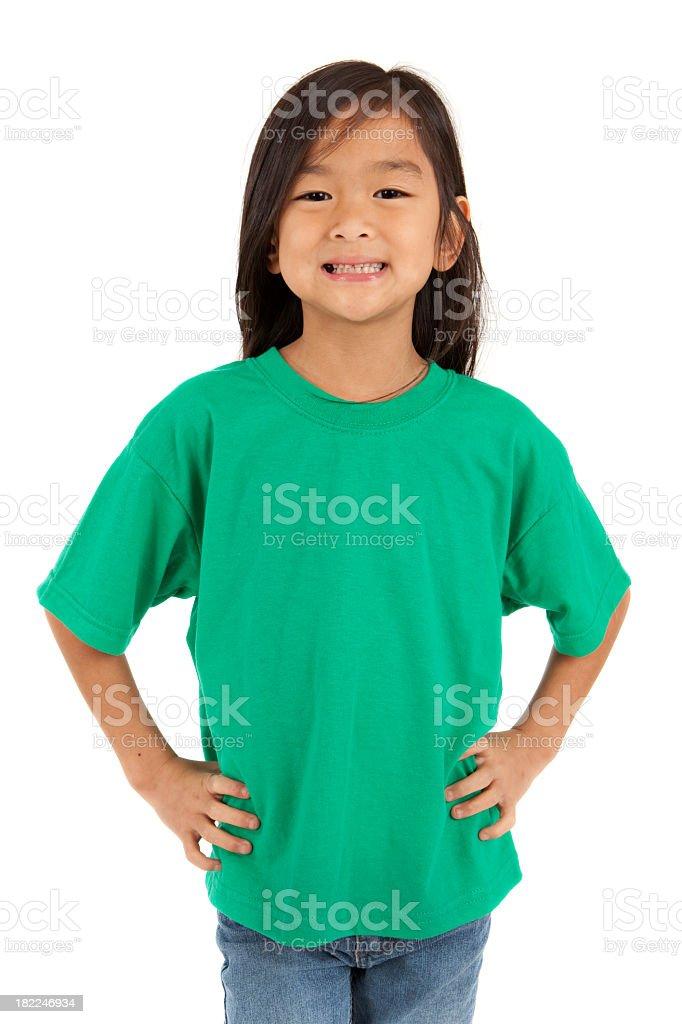 An Asian girl wearing a green t-shirt stock photo