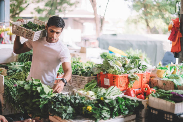 an asian malay vegetable owner arranging vegetables at his stall getting ready for the day stock photo
