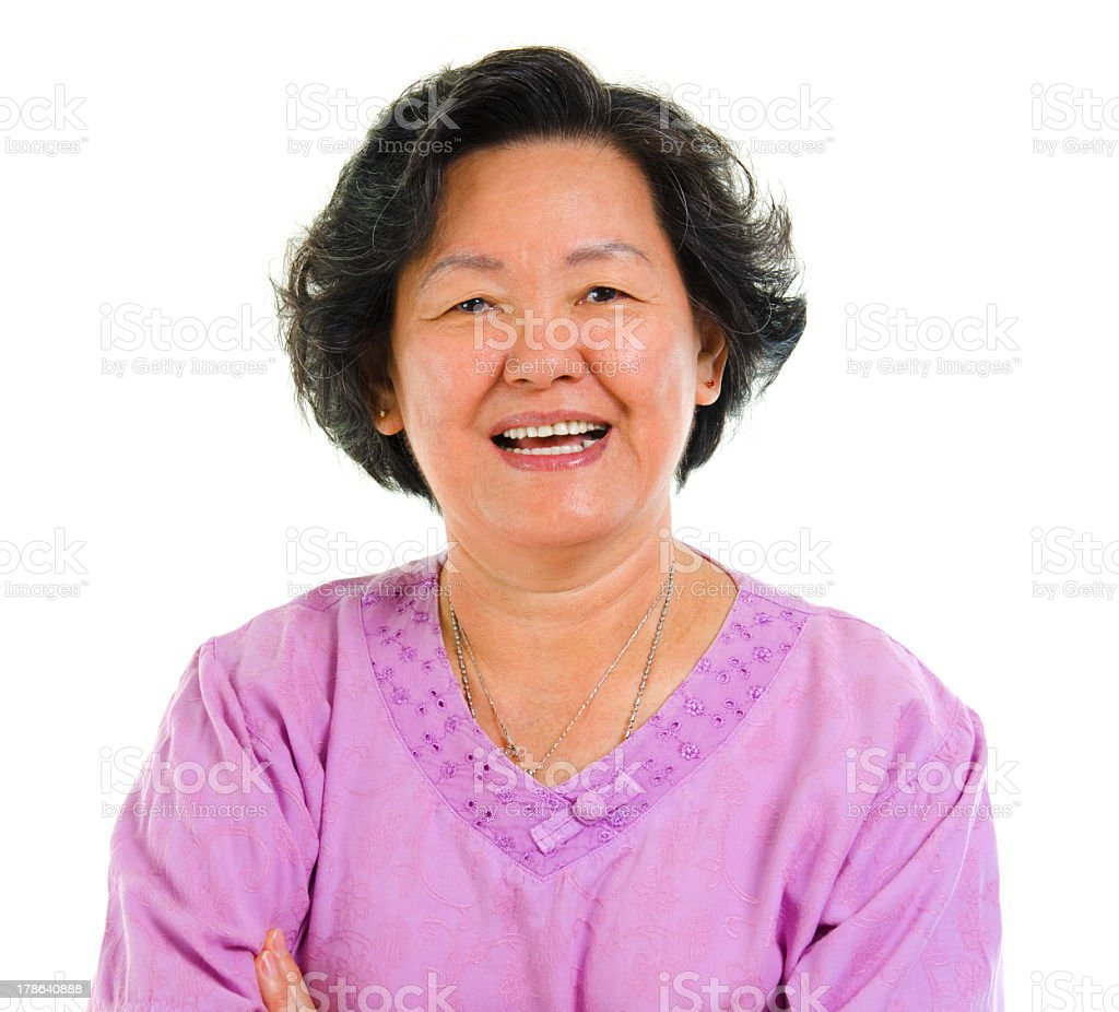 An Asian senior citizen smiling stock photo