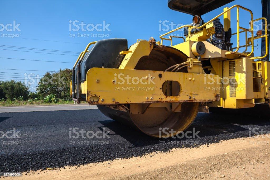 An asphalt roller stock photo