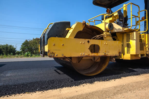 an asphalt roller stock photo