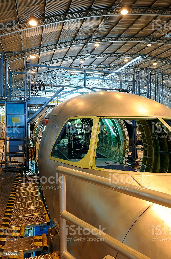 An assembly area of an aerospace industry  stock photo
