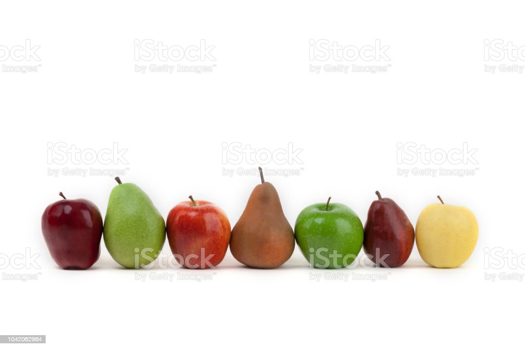 An Assortment Of Apples And Pears Isolated On A White Background ...