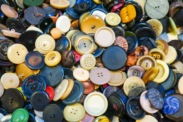 An assortment of colorful buttons stock photo