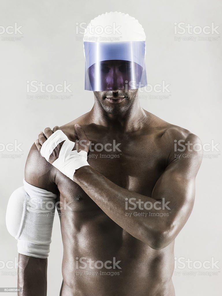Um atleta usando um visor foto de stock royalty-free