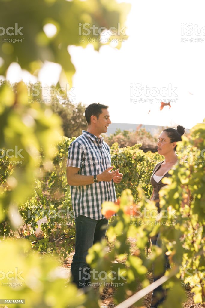 An attractive man talking to a woman stock photo