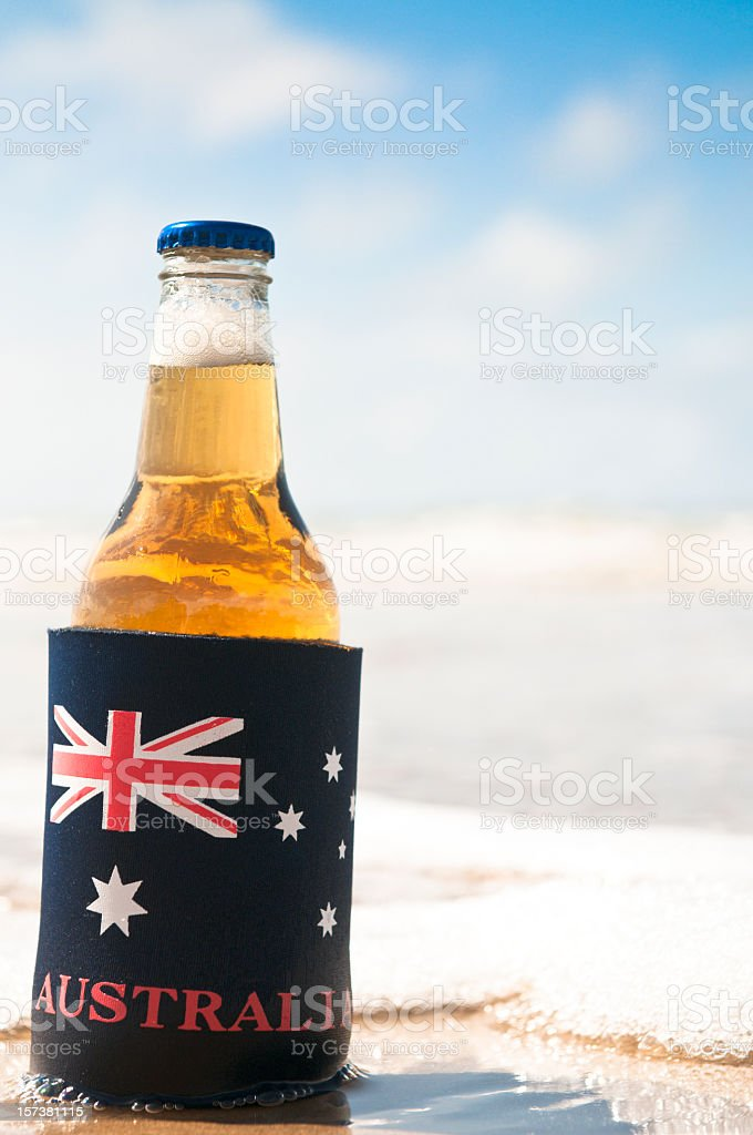 An Aussie Beer on the Beach stock photo