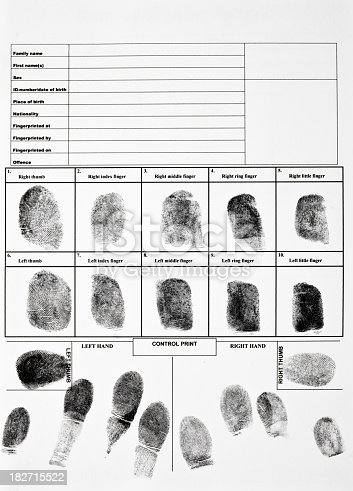 Authentic fingerprint form.