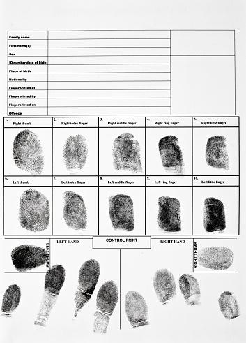 Authentic fingerprint form.