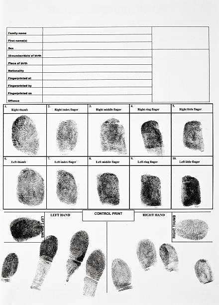 an authentic form of fingerprints - fingerprint stock photos and pictures