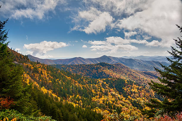 An autumn storm flows over Blue Ridge Parkway An autumn storm flows over the top of the mountains on Blue Ridge Parkway in North Carolina, USA. Lane Pinnacle has an elevation of 5230 feet. blue ridge mountains stock pictures, royalty-free photos & images