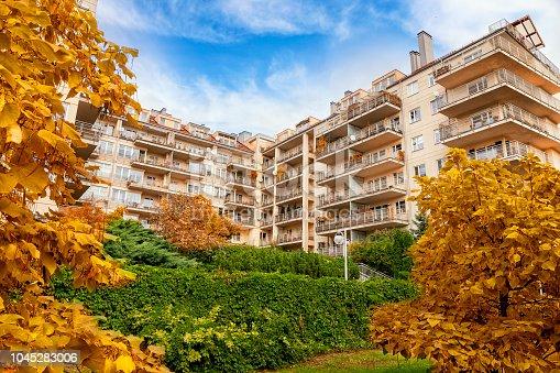 An autumn view of a modern housing estate, Praga district of Warsaw, Poland