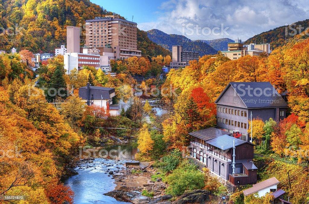 An Autumnal long shot of Jozankei, Japan royalty-free stock photo