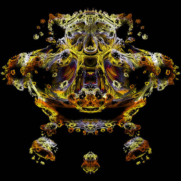 leopard joker and harlequin all in one fractal image - whiteway fractal stock photos and pictures