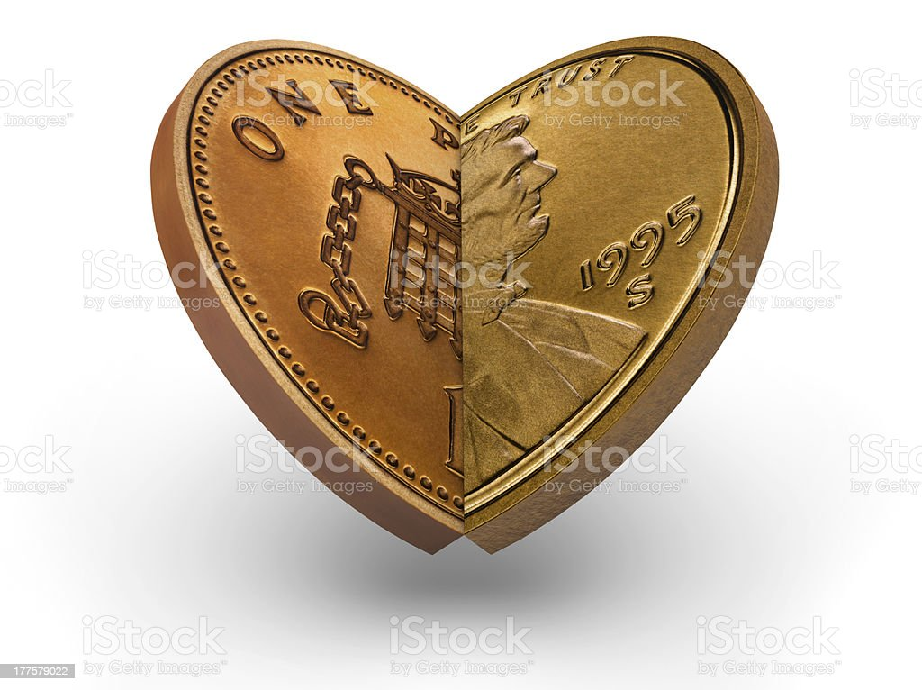 US an British coins making a heart royalty-free stock photo
