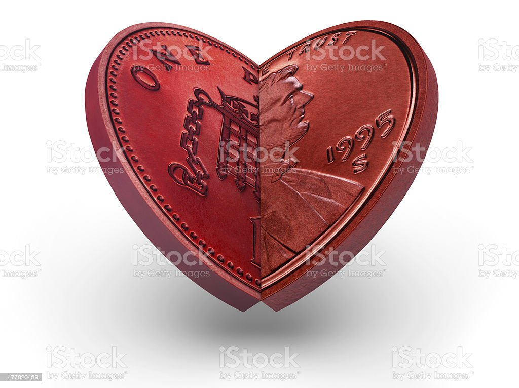 US an British coins making a red heart stock photo