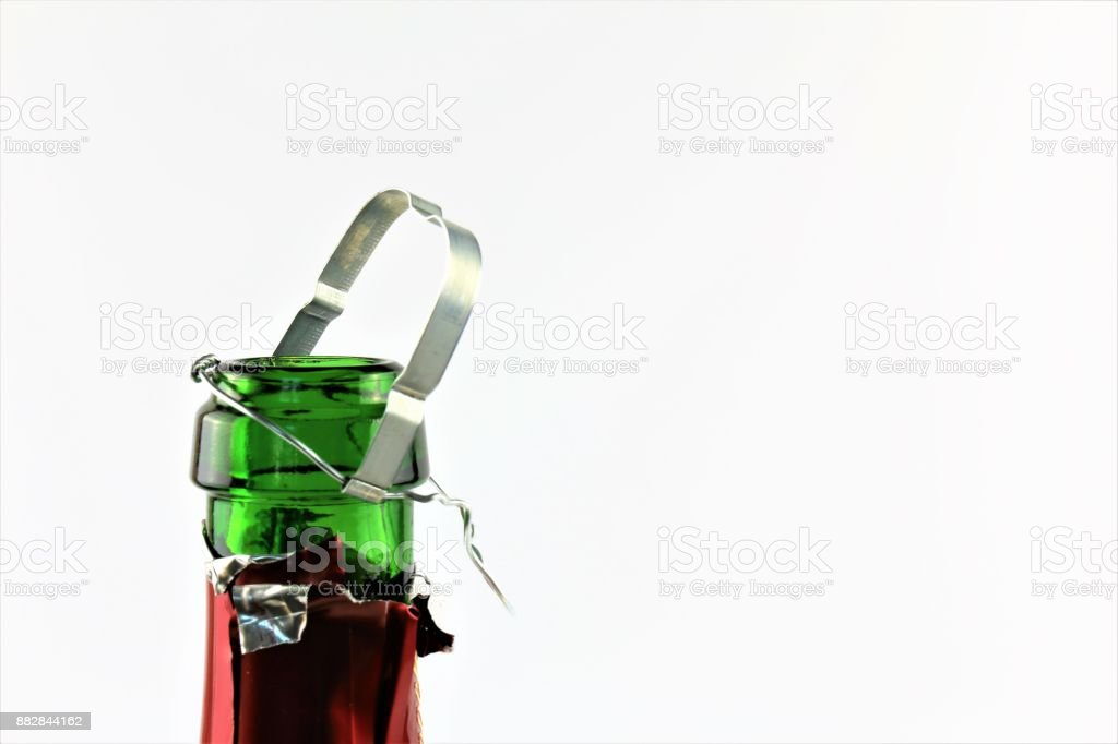 An concept Image of a champagne bottle with a cork and copy space stock photo