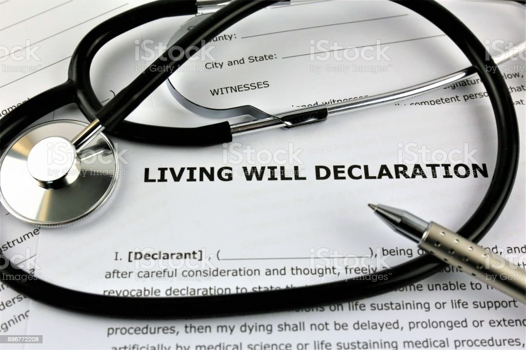 An concept Image of a living will declaration stock photo