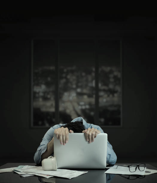 an crawling on computer laptop, with building window stock photo