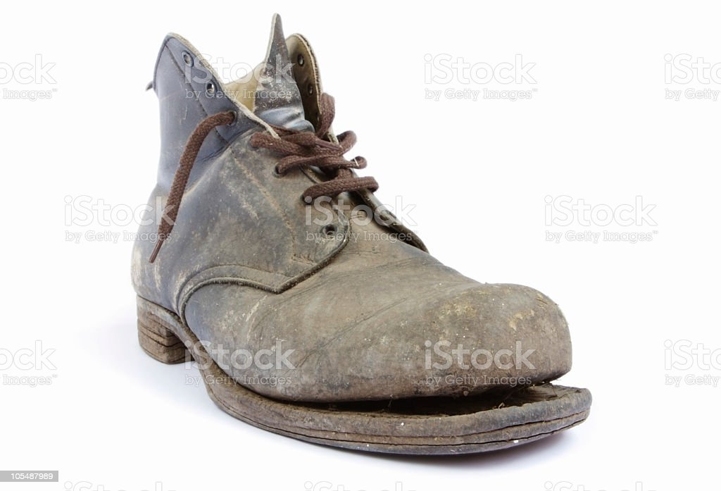 7ef7a021bb4 An Dirty Old Lace Up Boot With The Sole Falling Off Stock Photo ...