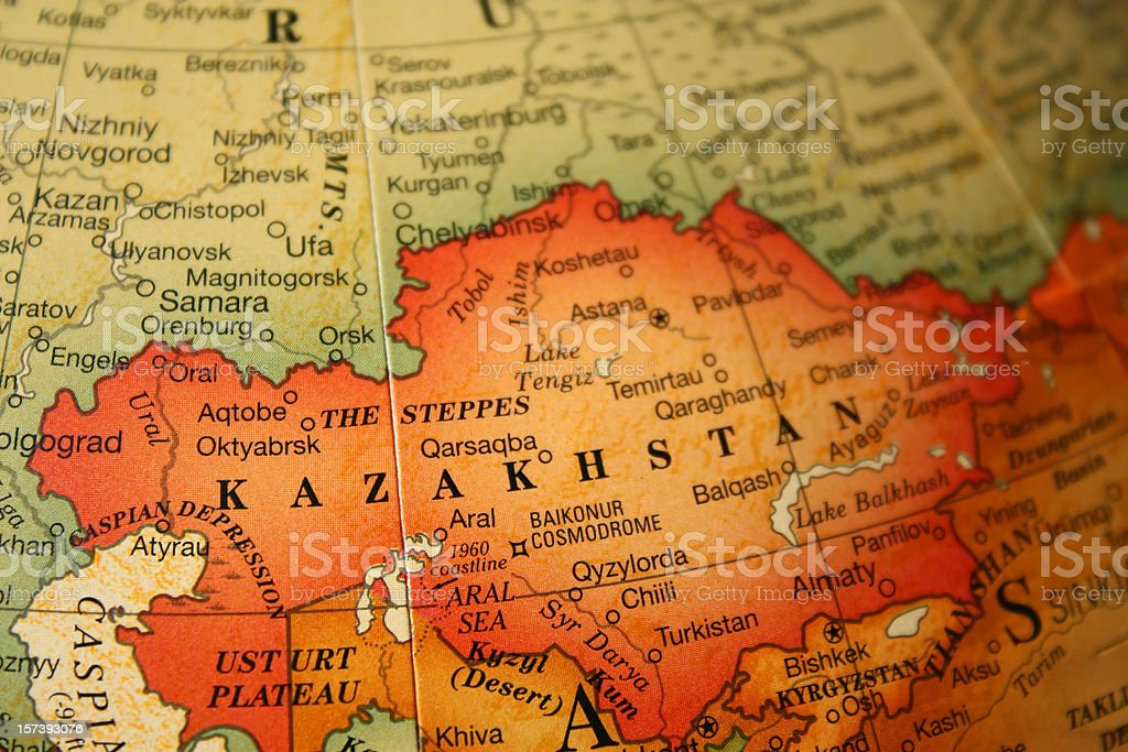 An earth tone political map focused on Kazakhstan stock photo
