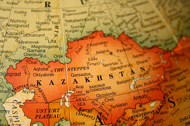 An earth tone political map focused on Kazakhstan stock photo